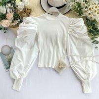 Yornona Kaliteli Comfy Zarif Puf Kol Bluz Gömlek Gotik Ins Moda İlkbahar Sonbahar Kadın Bayanlar Beyaz Gömlek Mahsul Y200103 Tops
