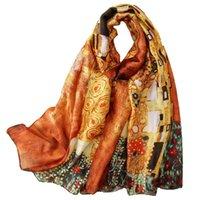 Gustav Klimt Yağlıboya Ipek Eşarp Kadınlar Için Ipek Şal Tasarımcısı der Kuss Fular Femme Yaz Plaj Kapak Yeni
