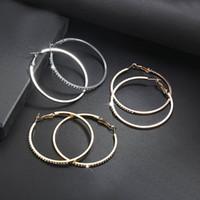 Declaração de Moda brincos de argola minimalista banhado a prata Mulheres Ouro Circular Brinco strass grande círculo de jóias Ear Studs 2ta G2B
