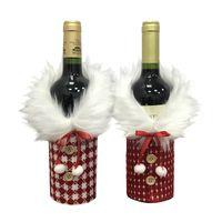 Anjule Kırmızı ve Beyaz Ekose Şişe Seti Peluş Bez Noel Dekorasyon