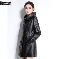 Nerazzurri Faux leather jackets women with zipper hooded black pleated long sleeve plus size pu leather jacket 5xl 6xl 7xl 200930