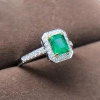 Bagues de grappe Aeaw bijoux 18 carats blancs blancs 0.8ct Natural Emerald Ring Anniversary Cut Green Gemstone Femmes