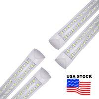 25pcs 8ft LED Shop Fixture de la lumière, tube 144W 14400LM T8, couvercle de la lentille transparente, double latéral 4 rangs V Lampe ampoule intégrée, lampes de porte refroidisseur à LED AC85-277V