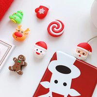 20pcs Cute Cartoon Christmas Series Cable Bite Phone Charger Cable Protector Cord Data Line Cover Decorate Smartphone Wire Accessories