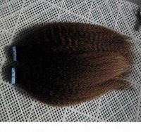 Italiana grossa yaki fita cabelo 100% extensões de cabelo humano 40 pcs kinky straight fita em extensões de cabelo humano