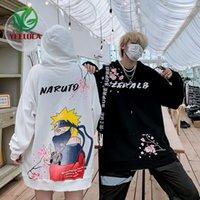Sonbahar Kış Yeni Naruto Hip-Hop Hoodie Erkekler Yüksek Sokak Hip-Hop Çift Anime Baskı Modu Uzun Kollu Kazak 201126