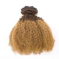 Ombre Remy Clip in Afro Kinky Riccio diva Balayage Capelli Estensioni Due toni T # 1b 27 Ombre fragola Bionda Full Testa 100g 7pcs