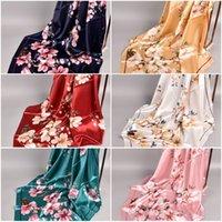 Spring New Shili Peach Blossom атлас 90 * 90 квадратных шарфов оптом женский распечатный шарф
