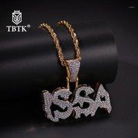 Naszyjniki wisiorek TBTK Betked Musing Cyrkon Issa list Naszyjnik Złota Biżuteria Dla Man Western Hiphop Style Instrukcja1
