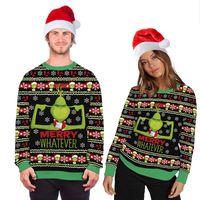 Унисекс Рождество костюм Мультфильм Анимация 3D цифровой печати Мода рубашку с длинными рукавами с капюшоном Уродливый Рождественский свитер