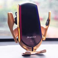 Qi Carregador de carro sem fio Braçadeira automática 10W titular de carga rápida Foriphone11Pro XR XS Forhuawei P30PRO Sensor Infravermelho Montagem de telefone
