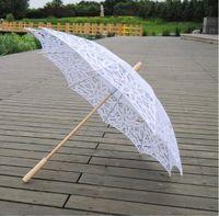 84 cm algodón parasol nupcial hecho a mano Battenburg encaje bordado blanco sol paraguas elegante boda de alta calidad fotos de fotos
