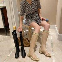 MANLEGU 2020 колено высоких сапог для Женской обуви осени сапог сетка обуви Sexy Med каблуков полых из Рима Style Lace Up Net пинетки