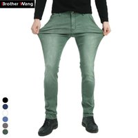 Brother Wang совершенно новые мужские эластичные джинсы мода тонкий тонкий джинсы джинсы повседневные брюки брюки джинс мужской зеленый черный синий 201128