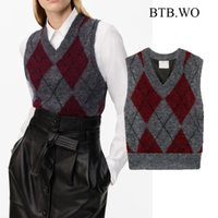 BTB.WO Za Women Vest 2020 Fashion V Neck Argyle Knitted Sweater Vintage Pullover Female Waistcoat Chic Tops