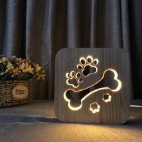 LED USB Gece Işık Ahşap Köpek Paw Kedi Kurt Kafa Hayvan Lamba Yenilik Çocuk Yatak Odası 3D Dekorasyon Masa Işıkları Çocuk Hediye