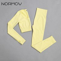 NORMOV Seamless Women Gym Sets Fitness Sports Suits Yoga Lon...