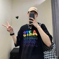 남성용 티셔츠 한국어 패션 커플 의류 플러스 사이즈 풀오버 하라주쿠 스트리트웨어 남자 탑스 옴므 다채로운 편지 인쇄 망 T 시어
