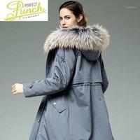 Kadın Kürk Faux Yaka Rakun Rex Kışlık Ceket Gerçek Parka Kadın Giysileri için 2021 CC1101 YY9561