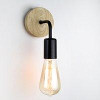 레트로 빈티지 나무 벽 램프 E27베이스 85-265V Luminaire 비품 벽 조명 침실 욕실 램프 실내 조명