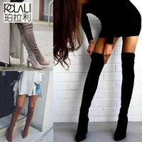 POLALI Size 34-43 New Shoes Women Boots Black Over the Knee Boots Sexy Female Autumn Winter lady Thigh High Boots 201127