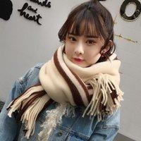 Scarves Fashion Women Scarf Knitted 2021 Autumn Winter Female Korean Warm Elegant Girls Sweet Tassel Wool Flash Wild Shawl