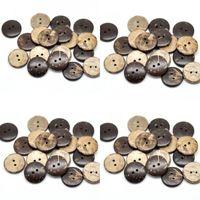 "100 unids Brown Coconut Shell 2 Agujeros de costura de madera botones Scrapbooking 20mm (3/4 "") DIA. (B18437) 11 J2"