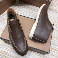 Hakiki Deri Erkek Bayan Kış Kürk Elbise Rahat Ayakkabılar Loro LP Tasarımcı Açık Yürüyüş Flats Mocassin Artı Boyutu 45 46