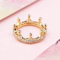 Yellow Gold plated Enchanted Crown RING Original Box for Pandora 925 Sterling Silver Diamond Women Wedding ps0879
