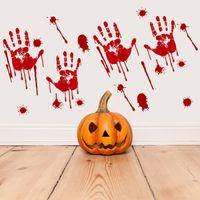 هالوين بصمة اليد الدامي مخيف هالوين PVC ملصق بيت مسكون الدعامة نافذة الديكور للماء الدامي بصمات الأصابع الشارات AHE2165