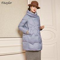 Fitaylor Зимняя куртка Stand Collar Slim Fit Длинные вниз Пальто 90% белая утка вниз Parka Streetwear Черный Теплый снег Outwear
