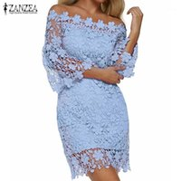 ZANZEA 2019 Kadınlar Mini Elbise Yaz Seksi Patchwork Dantel Katı Kapalı Omuz Slash Boyun Flare Kol Parti Elbiseler Zarif Vestido1