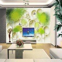 Обои Youman Custom 3D Обои Обои Мурасы Круг Абстрактное дерево птица Po Стереоскопическая Стенная роспись