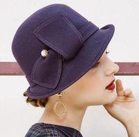 Geniş Ağız Şapkalar Beckyruiwu Kadın Parti Örgün Şapkalar Bayan Ziyafet Grace Düzensiz Fedora Şapka Kadın Saf Yün Keçe Cloche
