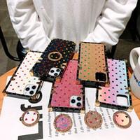 iPhone 11 12 Pro XR XS Max 8+ 7+ 6S + 플러스 럭셔리 디자이너 케이스 반짝이 사랑 패션 다이아몬드 스퀘어 수비수 전화 케이스