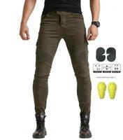 Pantalones vaqueros de montaña de motocicleta No Kominie B06 Pantalones tienen 4 piezas Four Seasons Pantalones 06 Negro Verde Con Cinturón Protector Gear1