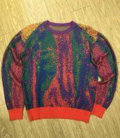 Menser designer outono inverno suéteres arco-íris impressão ocasional de alta qualidade moda homens mulheres wild top