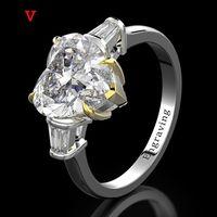 Кластерные кольца OEVAS 100% 925 стерлингового серебра стерлингового серебра созданы моисанит Аквамарин Драгоценный камень Свадебное обручальное кольцо изысканные украшения подарки