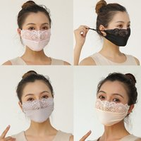 In Stock Women Designer Face Mouth Masks Cover Respirator Dustproof Anti-bacterial Dust Washable Reusable Ice Silk Lace Pearls Cotton Masks
