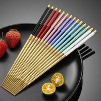 304 из нержавеющей стали Chopstick Flatware 24см Дома для дома Поставки Candy Color Nonslip Палочка для еды Домашняя посуда Hotel Doilware Supply 115 K2