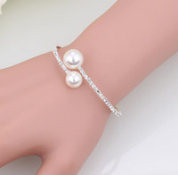 Elegante Collana Collana per perle di strass Shiny Apertura Apertura Braccialetto regolabile Set da sposa Accessori Accessori Vendita calda Donna Gioielli Donne