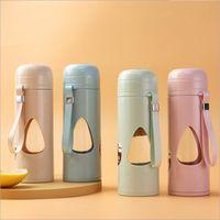 Erkekler ve Kadınlar için Plastik Cam Bardak Mühürlü Anti-Haşlama Çay Bardağı Taşınabilir Cam Su Şişesi Öğrenci Çift Anti-Güz Eşlik Kupası