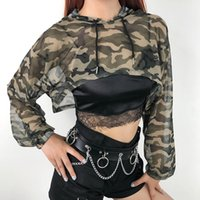 2020 Camouflage Print Hooded Long Sleeve Crop Top T Shirt Me...