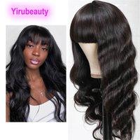 Indian Virgin Hair Plein-Machine Droit 10-28inch Couleur Naturelle Bob Bangs Mécanisme Perruque Body Wave 150% Densité Machine Perruques