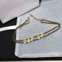 2021 Fashion Initial Lettera Choker Collana Bijoux Cuban Link Iced Out Pendant Catene per Lady Womens Party Wedding Lovers Regalo