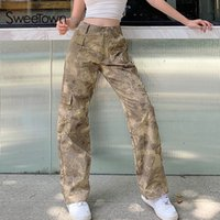 Sweetown Summer Camouflage Femmes Pantalons droits High Taille Casual Casual Casual Cargo Pantalons Streetwear Pantalons Femme Fashion Outfits 200930