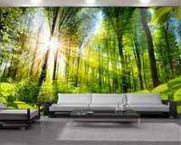Romântico paisagem 3D Mural Wallpaper Lush Green Forest Personalizado 3D Photo Wallpaper Home Decor