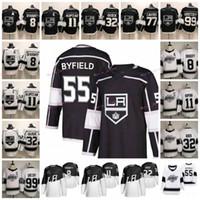 55 Quinton Byfield 2020 Estádio Série Los Angeles Kings 8 Drew Doughty 11 Anze Kopitar 32 Jonathan Quick 99 Wayne Gretzky Hockey Jerseys