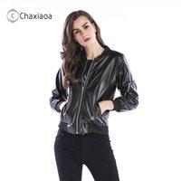 Couro feminino Faux Chaxiaoa Mulheres Casaco de Inverno Casaco de Beisebol de Manga Longa Outwear Pu Casacos Quentes para Roupas de Outono X441