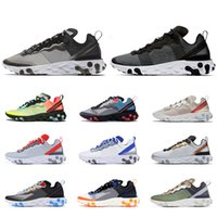 2021 Elemento de reacción 55 87 Hombres Mujeres Running Shoes Triple Negro Anthracite White Royal Red Moda Mens Trainer Corredor Zapatillas de deporte al aire libre